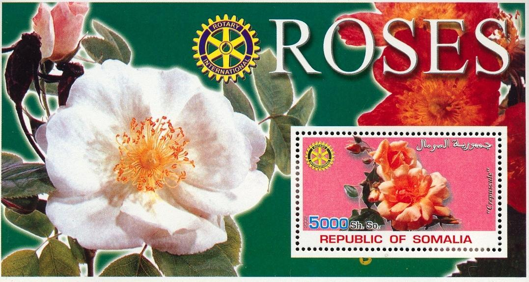 Stamps with Flowers, Roses, Rotary from Somalia (non official) (image for product #030006)