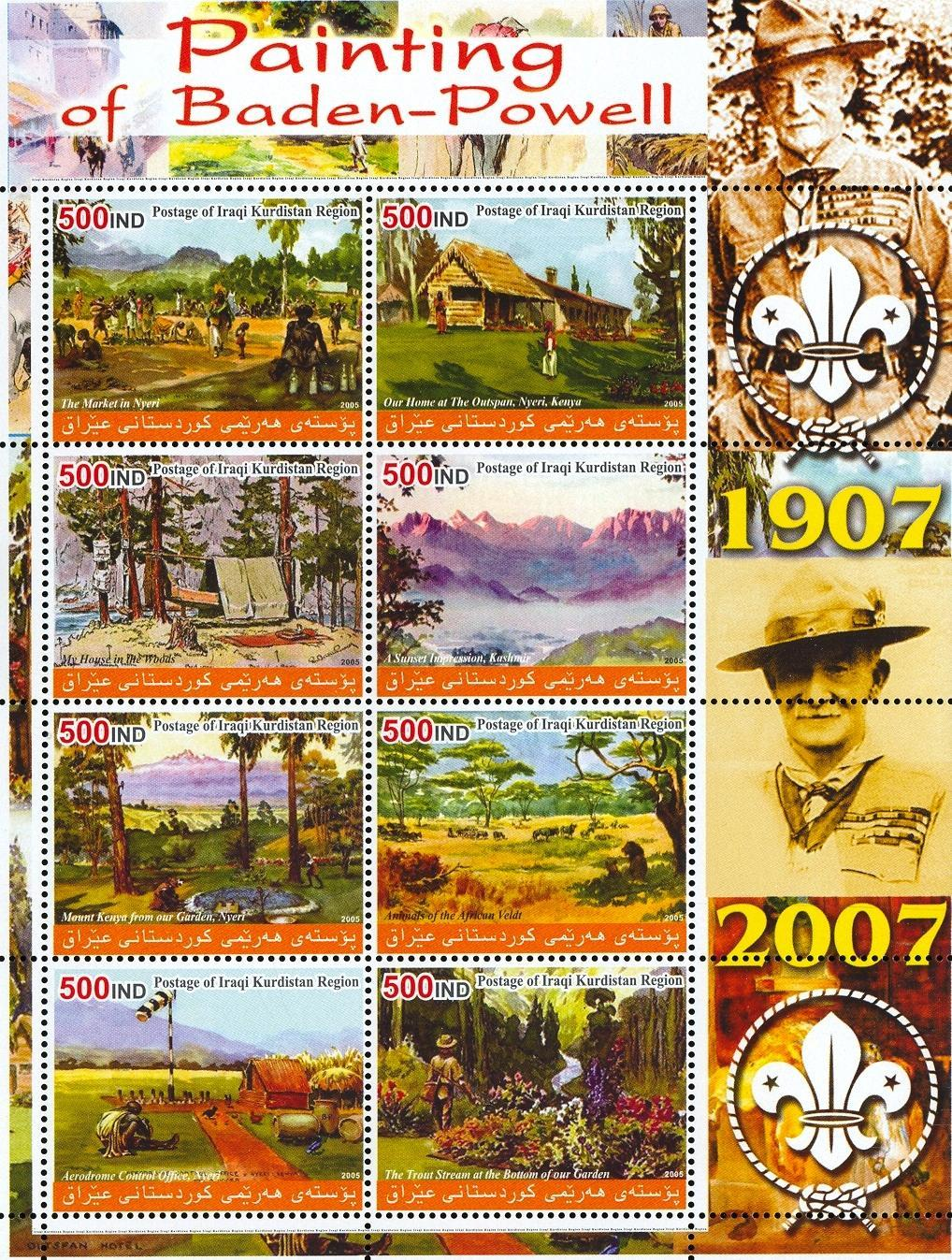 Stamps with Baden Powell, Art, Scouting from  (image for product #030013)
