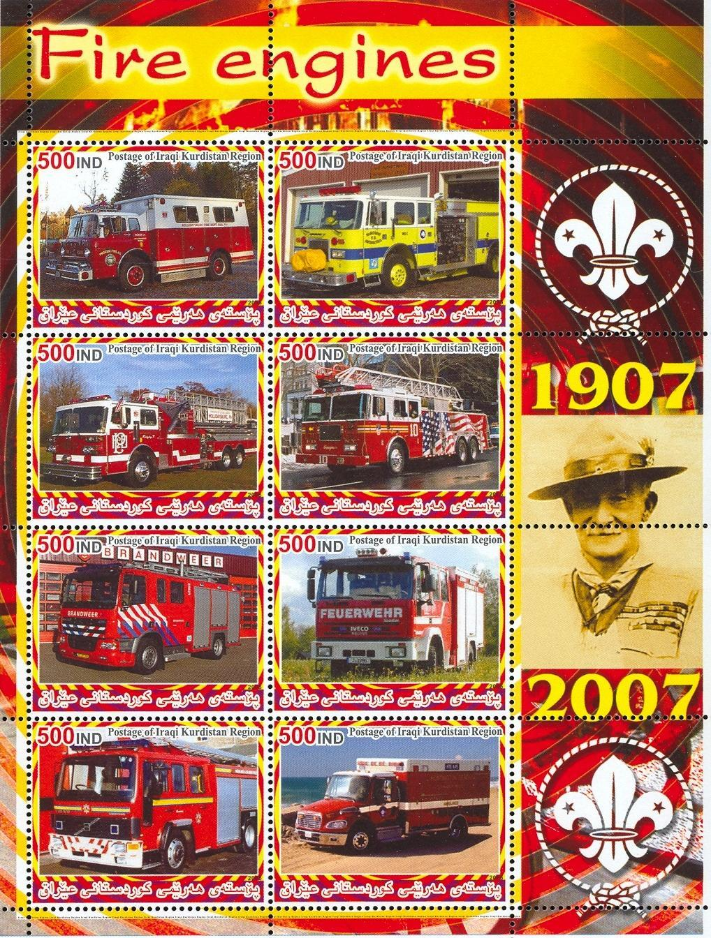 Stamps with Scouting, Firefighters / engines, Baden Powell from  (image for product #030015)