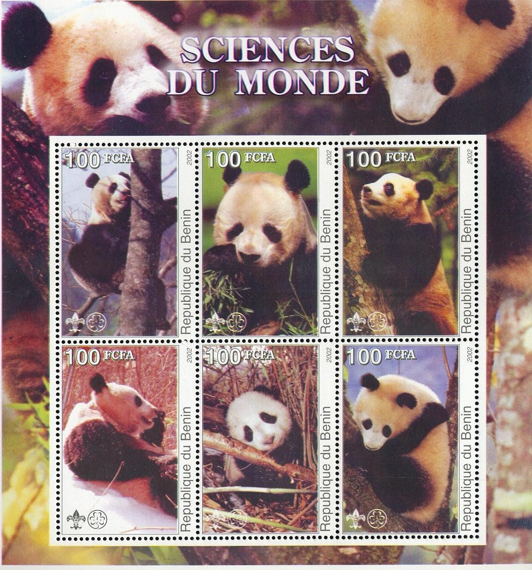 Stamps with Scouting, Giantpanda from Benin (non official) (image for product #030036)