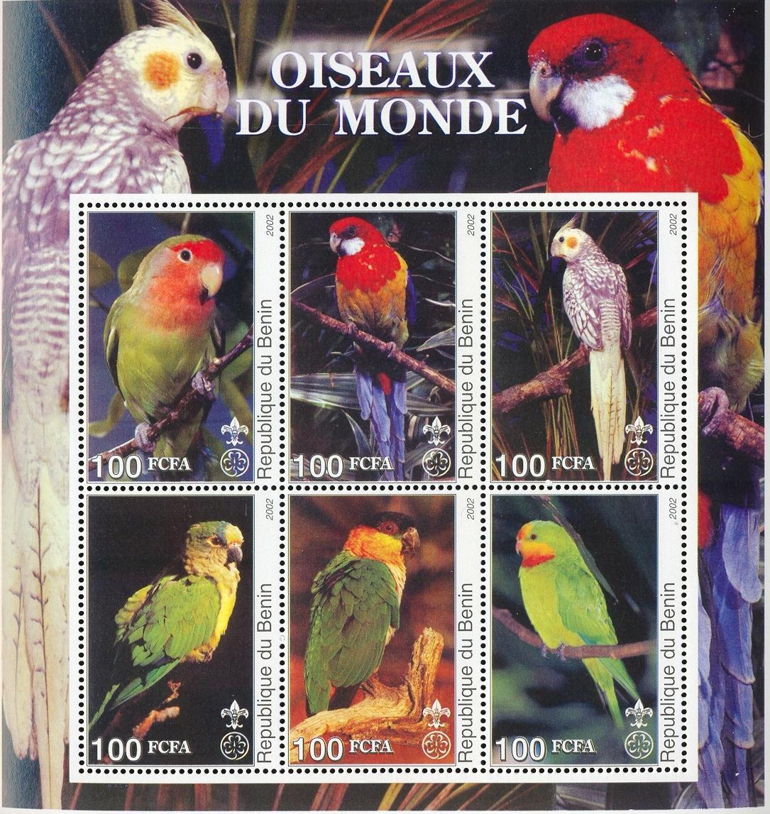 Stamps with Scouting, Parrot from Benin (non official) (image for product #030037)