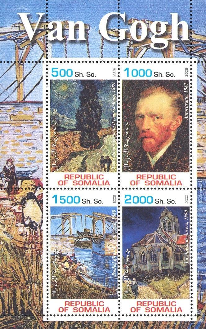 Stamps with Church, Art, Bridge, Vincent van Gogh from Somalia (non official) (image for product #030128)