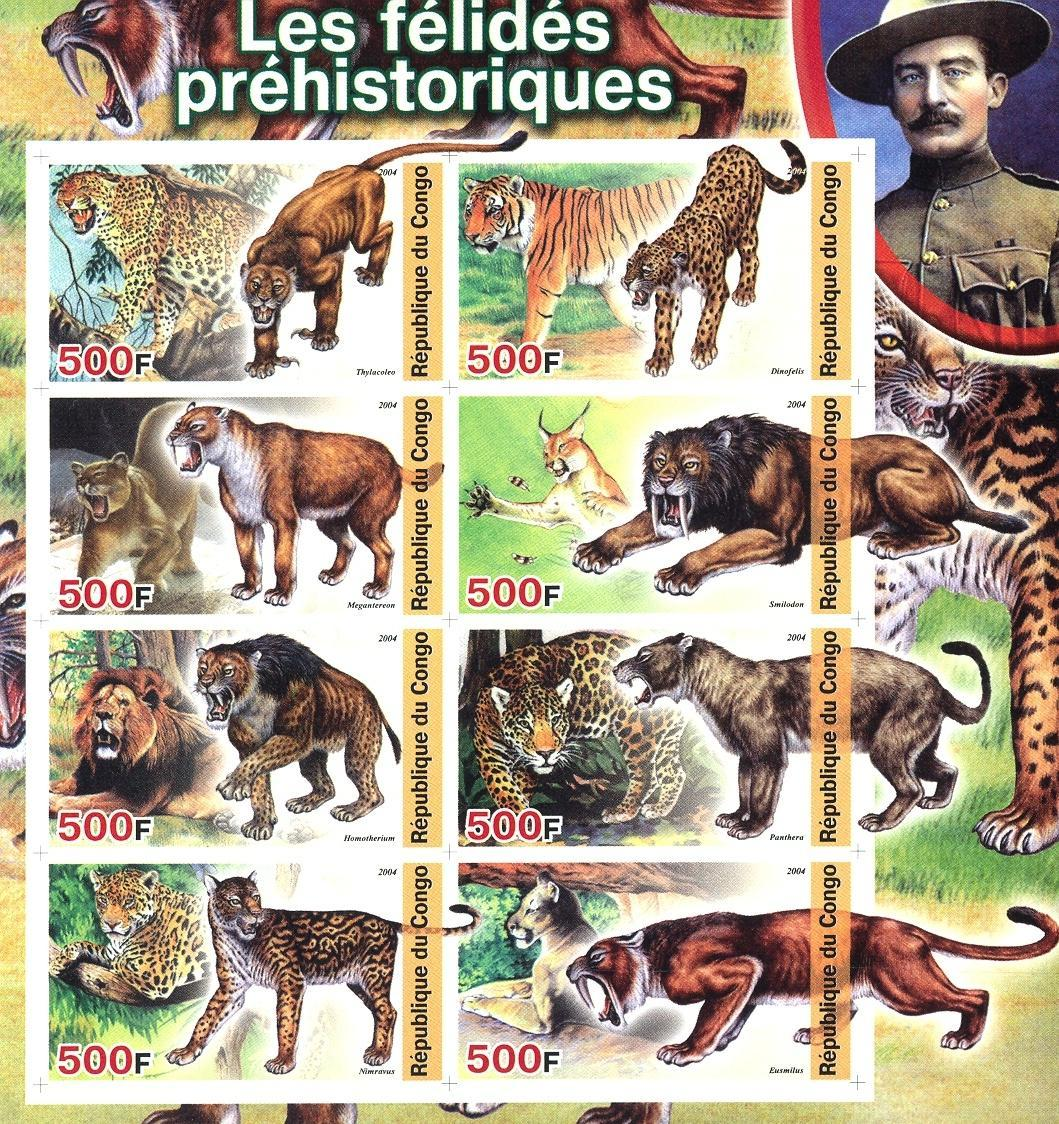 Stamps with Scouting, Tiger, Prehistory, Lion, Baden Powell from Congo (non official) (image for product #030159)