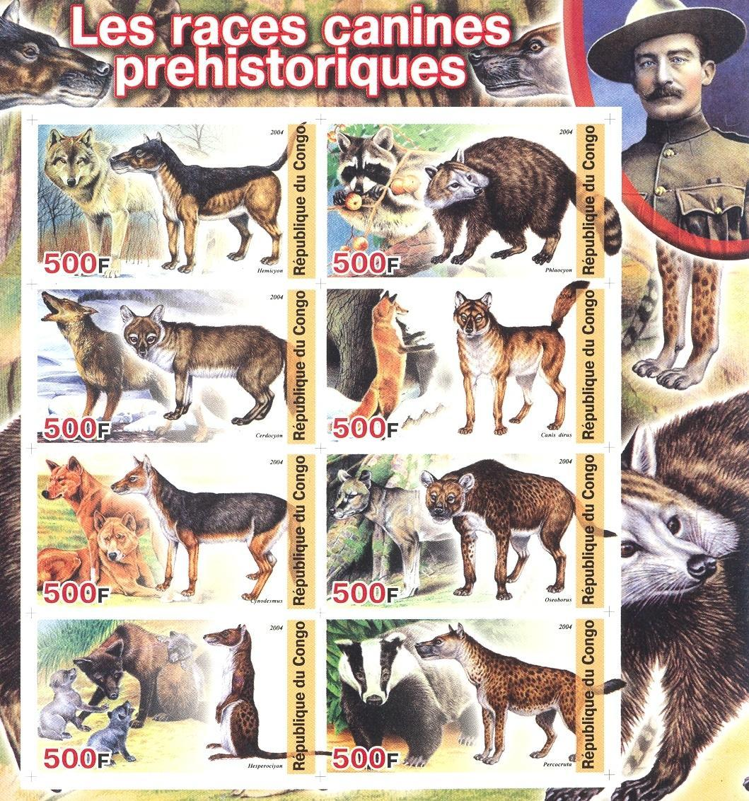 Stamps with Scouting, Dogs, Prehistory, Fox, Baden Powell, Badger from Congo (non official) (image for product #030160)