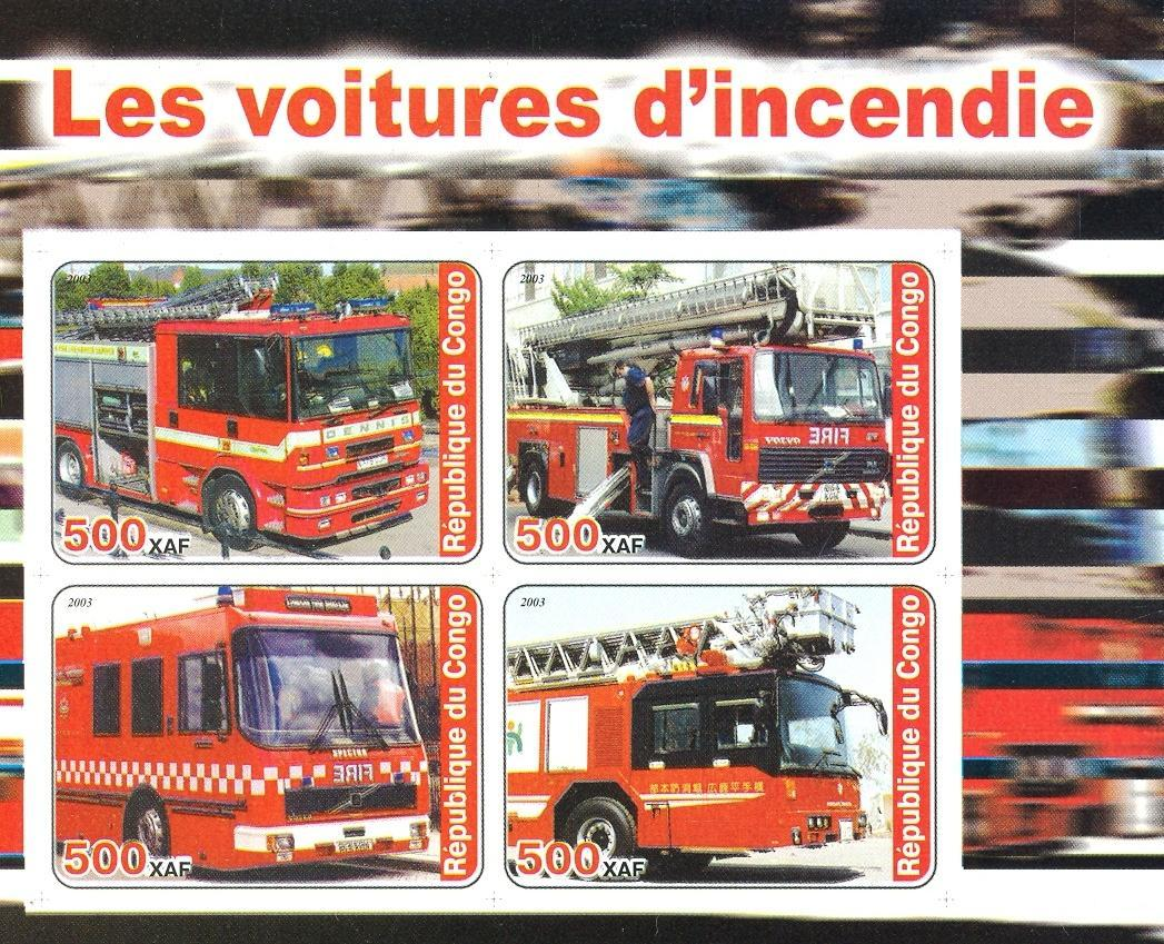 Stamps with Firefighters / engines from Congo (non official) (image for product #030169)