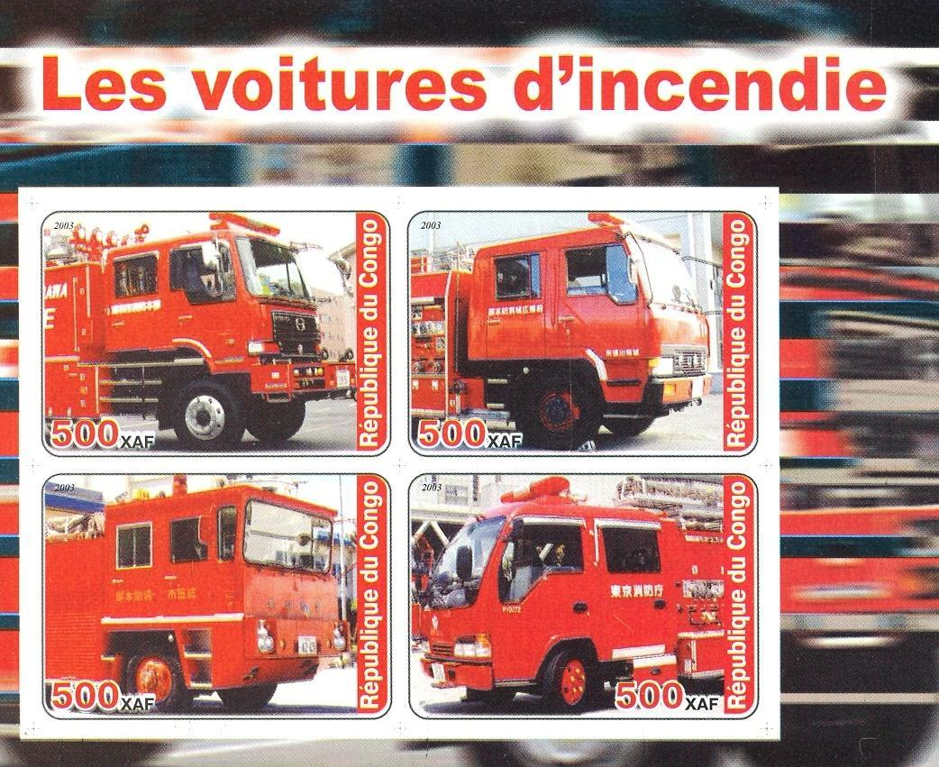 Stamps with Firefighters / engines from Congo (non official) (image for product #030171)