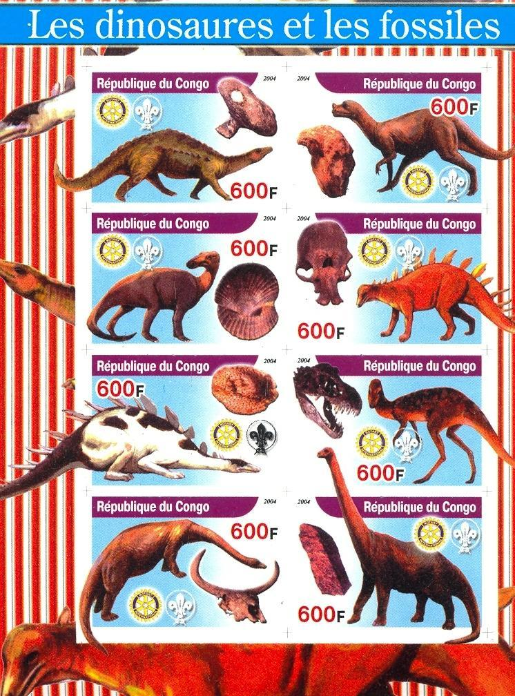 Stamps with Scouting, Dinosaurs, Rotary, Fossile from Congo (non official) (image for product #030173)