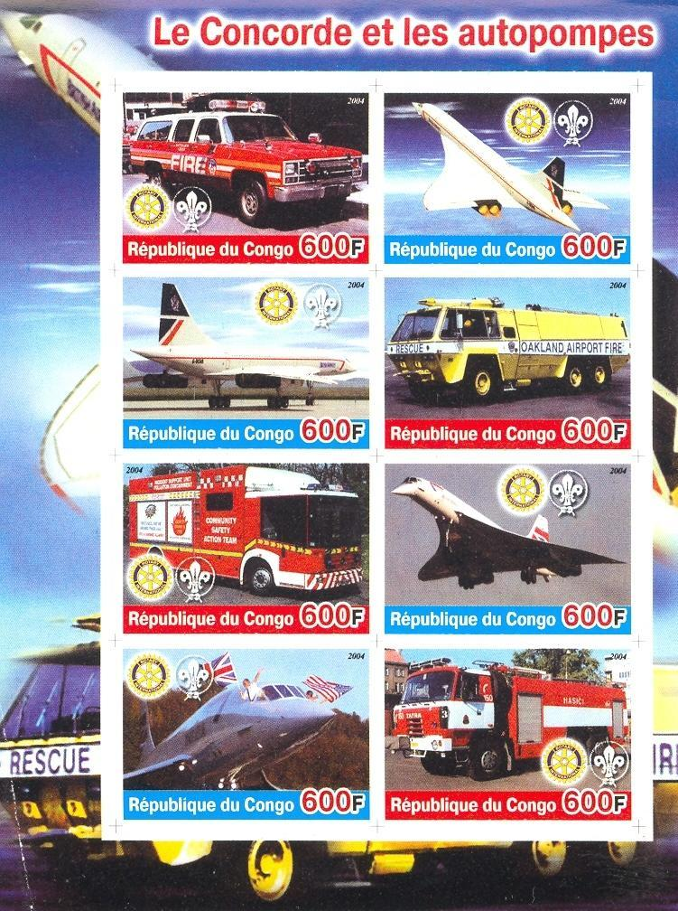 Stamps with Scouting, Concorde, Rotary, Firefighters / engines from Congo (non official) (image for product #030178)