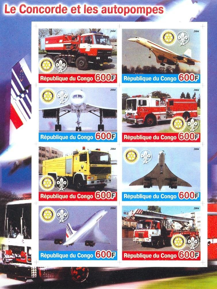Stamps with Scouting, Concorde, Rotary, Firefighters / engines from Congo (non official) (image for product #030179)
