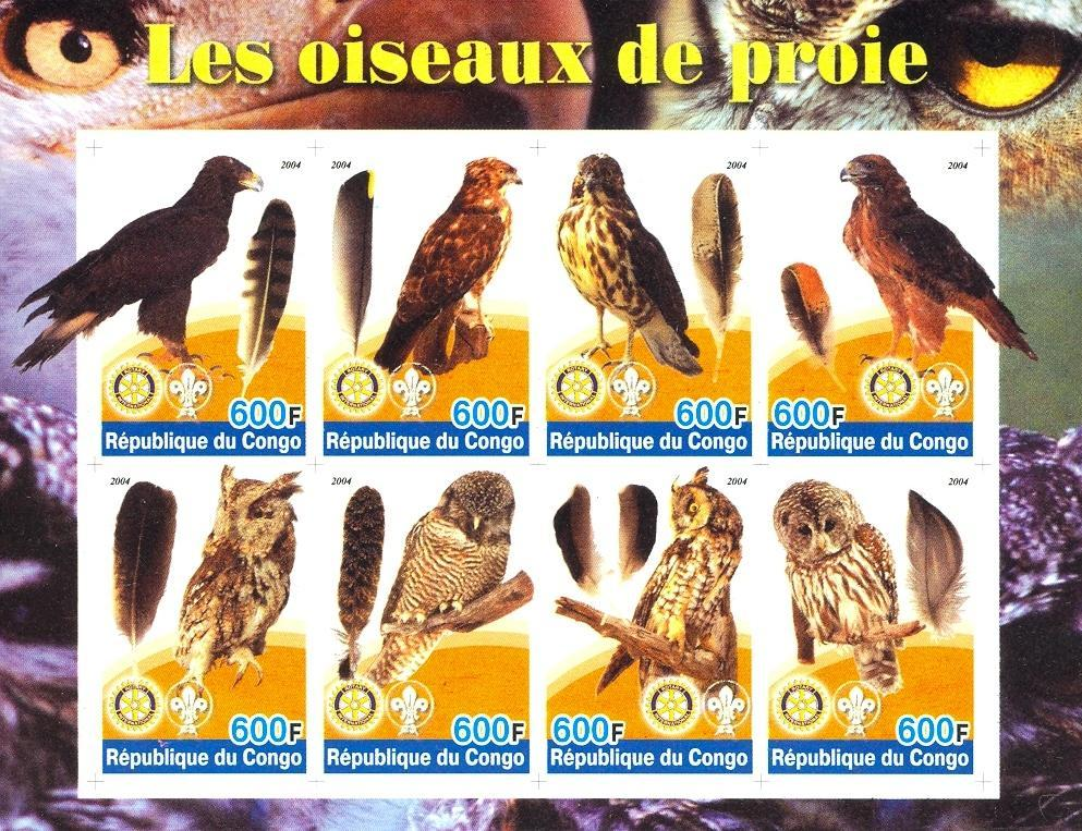 Stamps with Bird, Scouting, Owl, Rotary from Congo (non official) (image for product #030182)