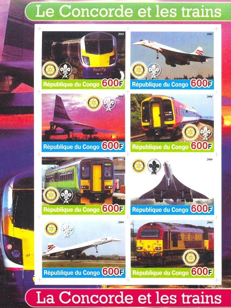 Stamps with Scouting, Concorde, Train / Railway, Rotary from Congo (non official) (image for product #030183)
