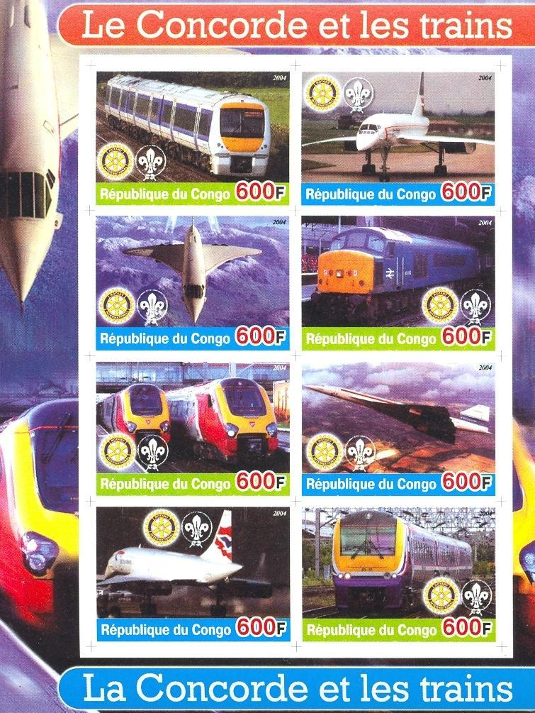 Stamps with Scouting, Concorde, Train / Railway, Rotary from Congo (non official) (image for product #030184)