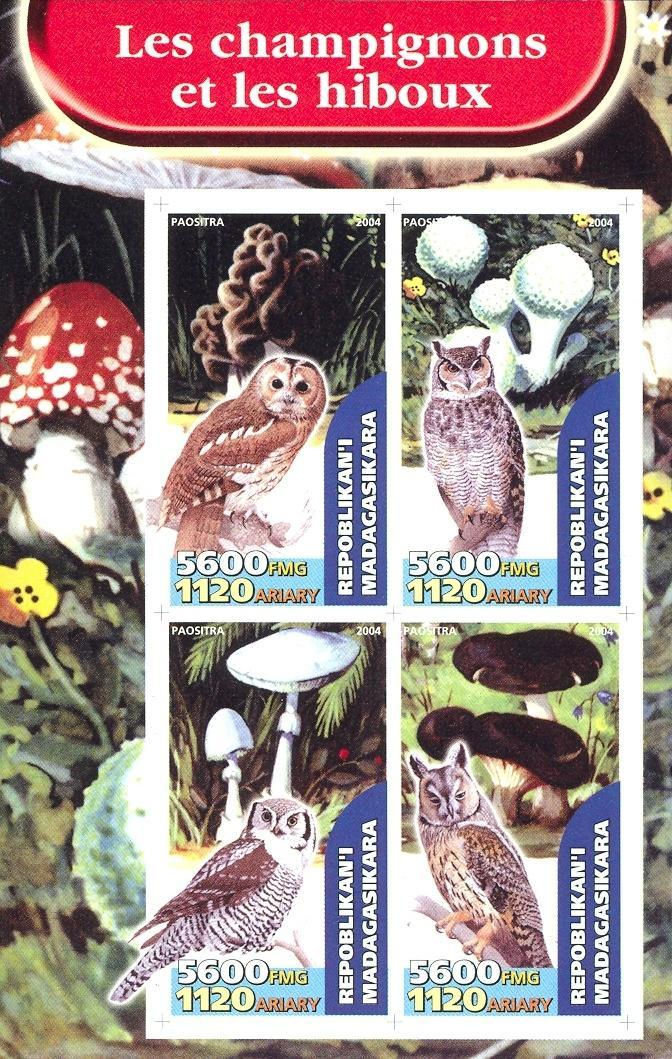 Stamps with Mushrooms, Owl from Madagascar (non official) (image for product #030185)