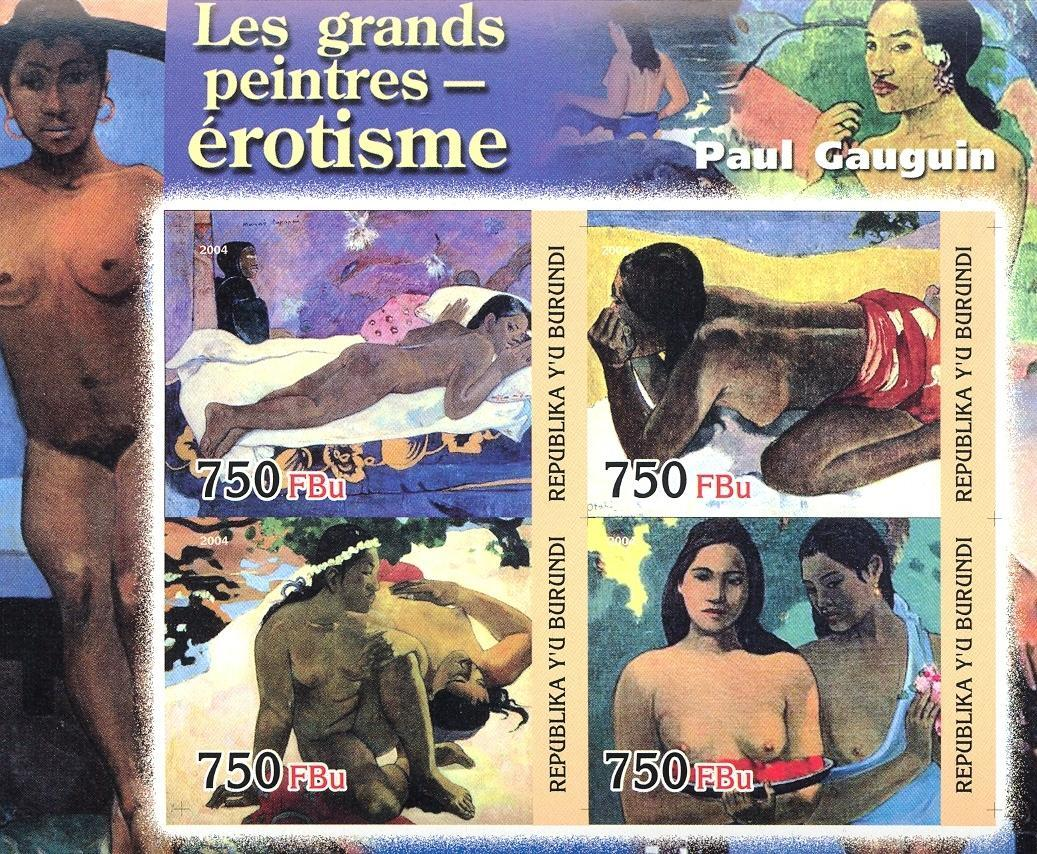 Stamps with Art, Nude, Gauguin from Burundi (non official) (image for product #030188)