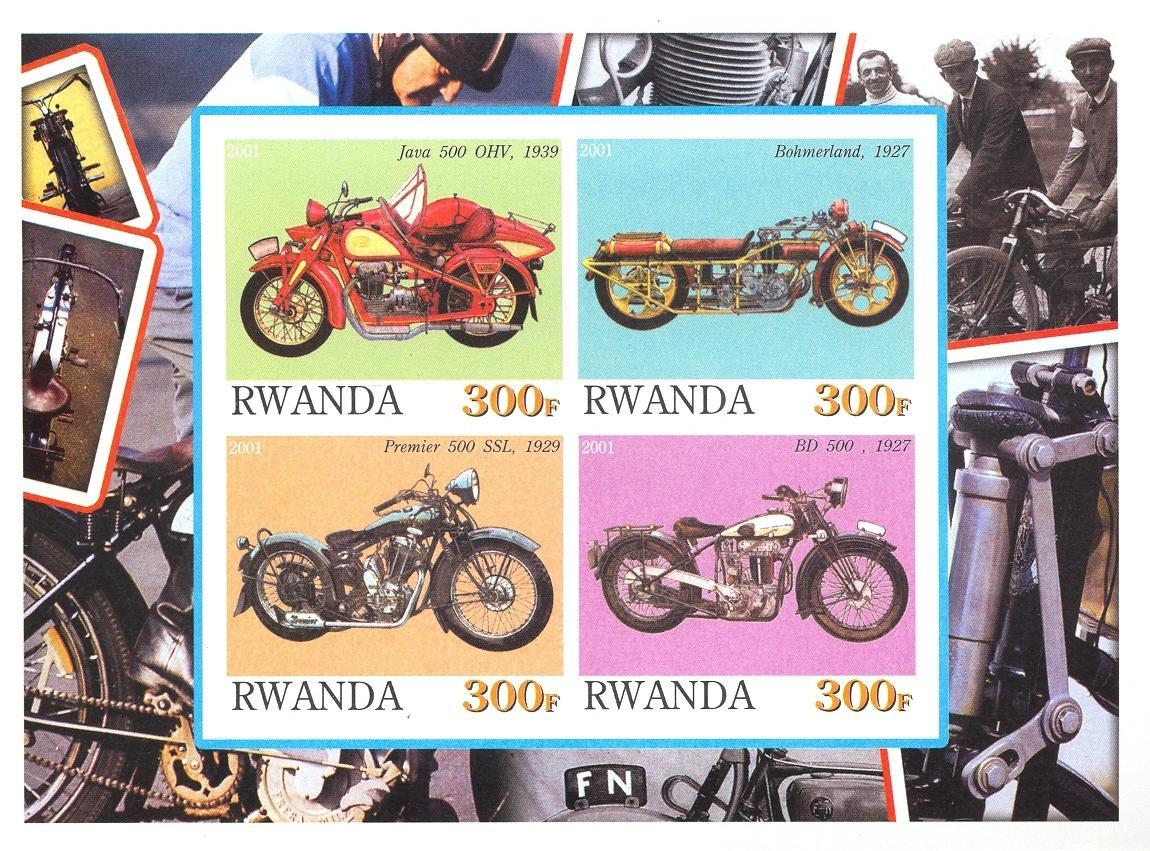 Stamps with Motorcycle from Rwanda (non official) (image for product #030189)