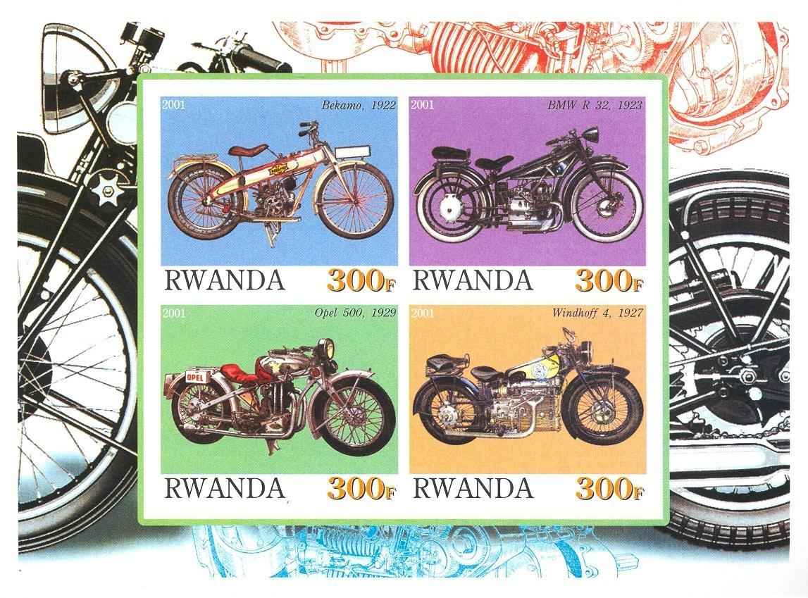 Stamps with Motorcycle from Rwanda (non official) (image for product #030190)