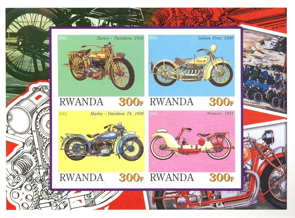 Stamps with Motorcycle from Rwanda (non official) (image for product #030191)