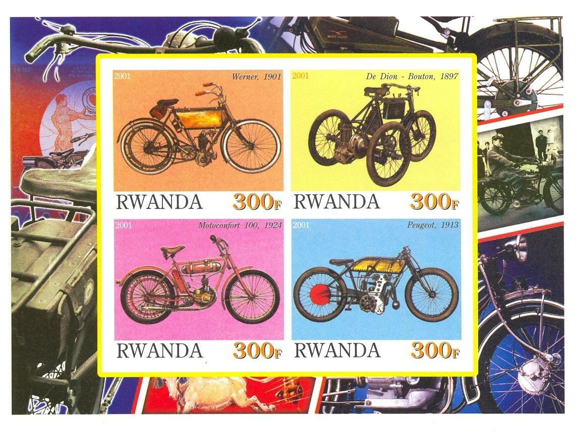 Stamps with Motorcycle from Rwanda (non official) (image for product #030193)
