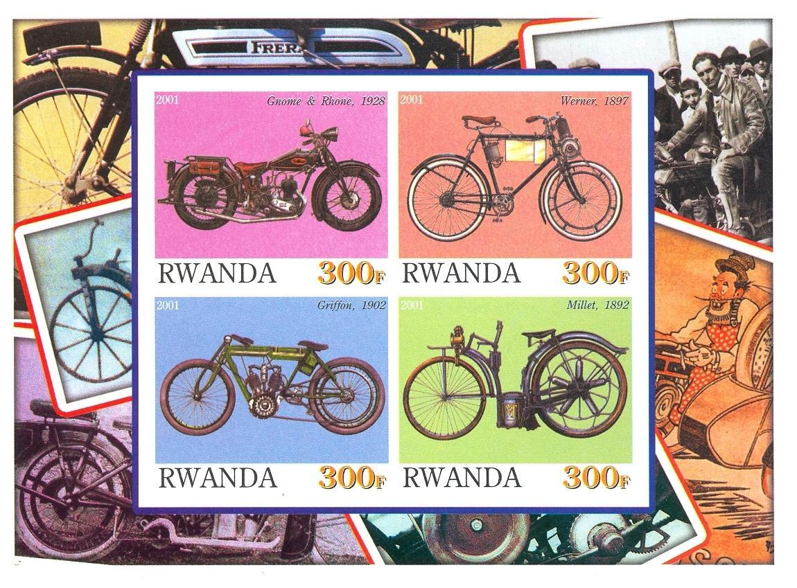 Stamps with Motorcycle from Rwanda (non official) (image for product #030194)