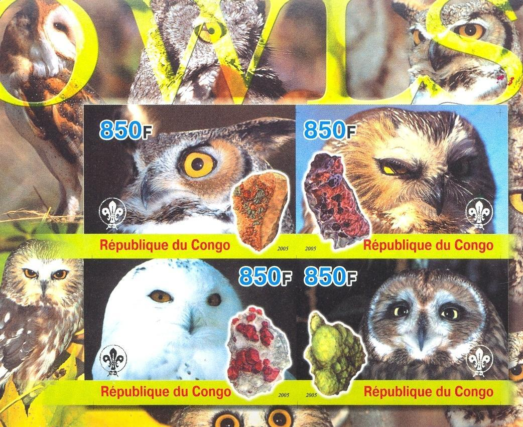 Stamps with Owl, Scouting, Minerals from Congo (non official) (image for product #030201)