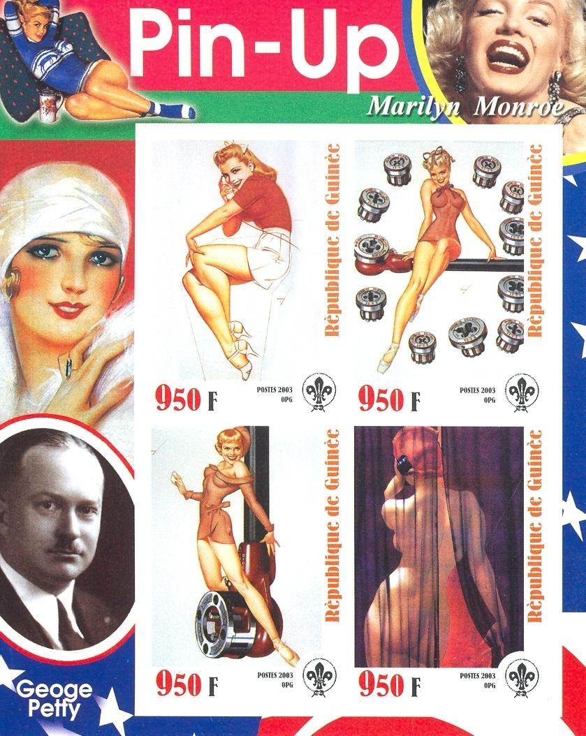 Stamps with Nude, Marilyn Monroe, Scouting from Guinea (non official) (image for product #030205)