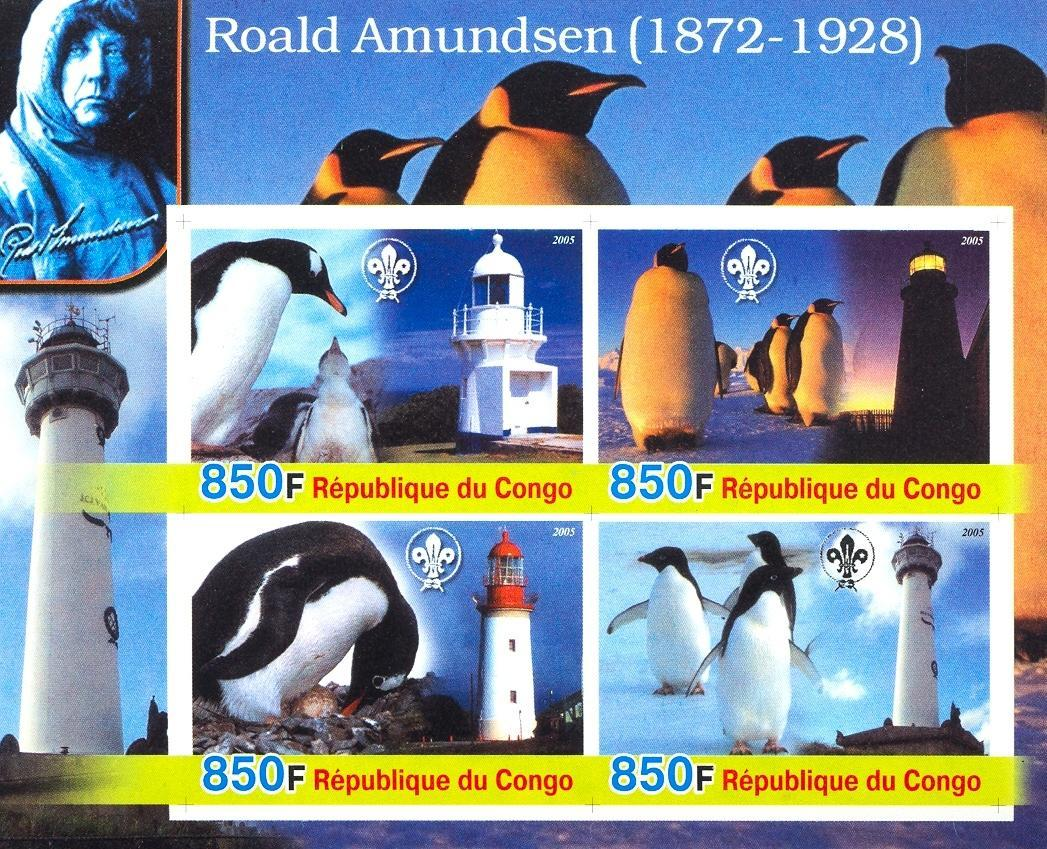 Stamps with Scouting, Explorers, Lighthouse, Penguin from Congo (non official) (image for product #030207)
