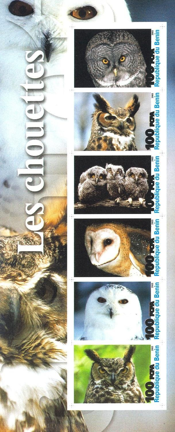 Stamps with Owl, Bird from Benin (non official) (image for product #030210)
