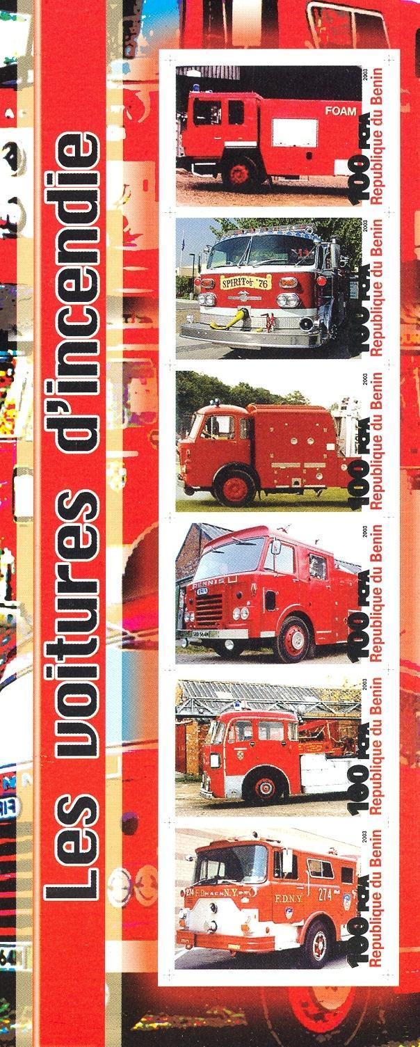 Stamps with Firefighters / engines from Benin (non official) (image for product #030215)