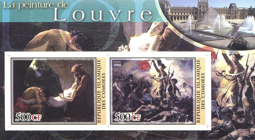 Stamps with Museum, Art, Nude, Delacroix, Pyramid from Comoros (non official) (image for product #030223)