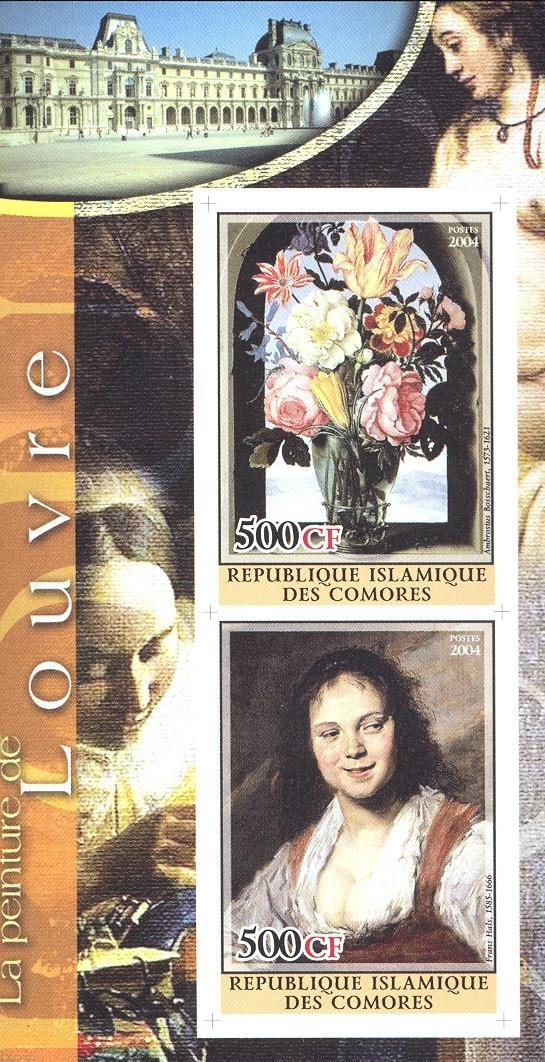 Stamps with Flowers, Museum, Art, Nude, Vermeer from Comoros (non official) (image for product #030226)