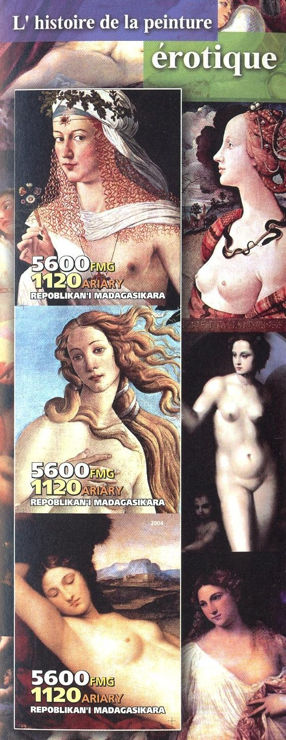 Stamps with Nude, Art from Madagascar (non official) (image for product #030238)