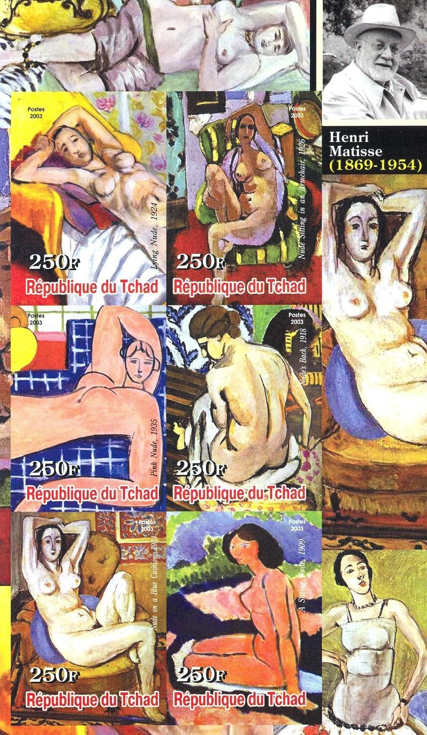 Stamps with Art, Nude, Matisse (Henri) from Chad (non official) (image for product #030241)