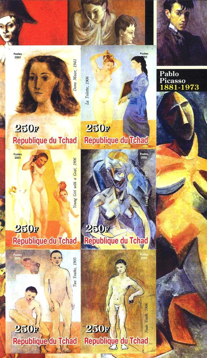 Stamps with Art, Picasso, Nude from Chad (non official) (image for product #030242)