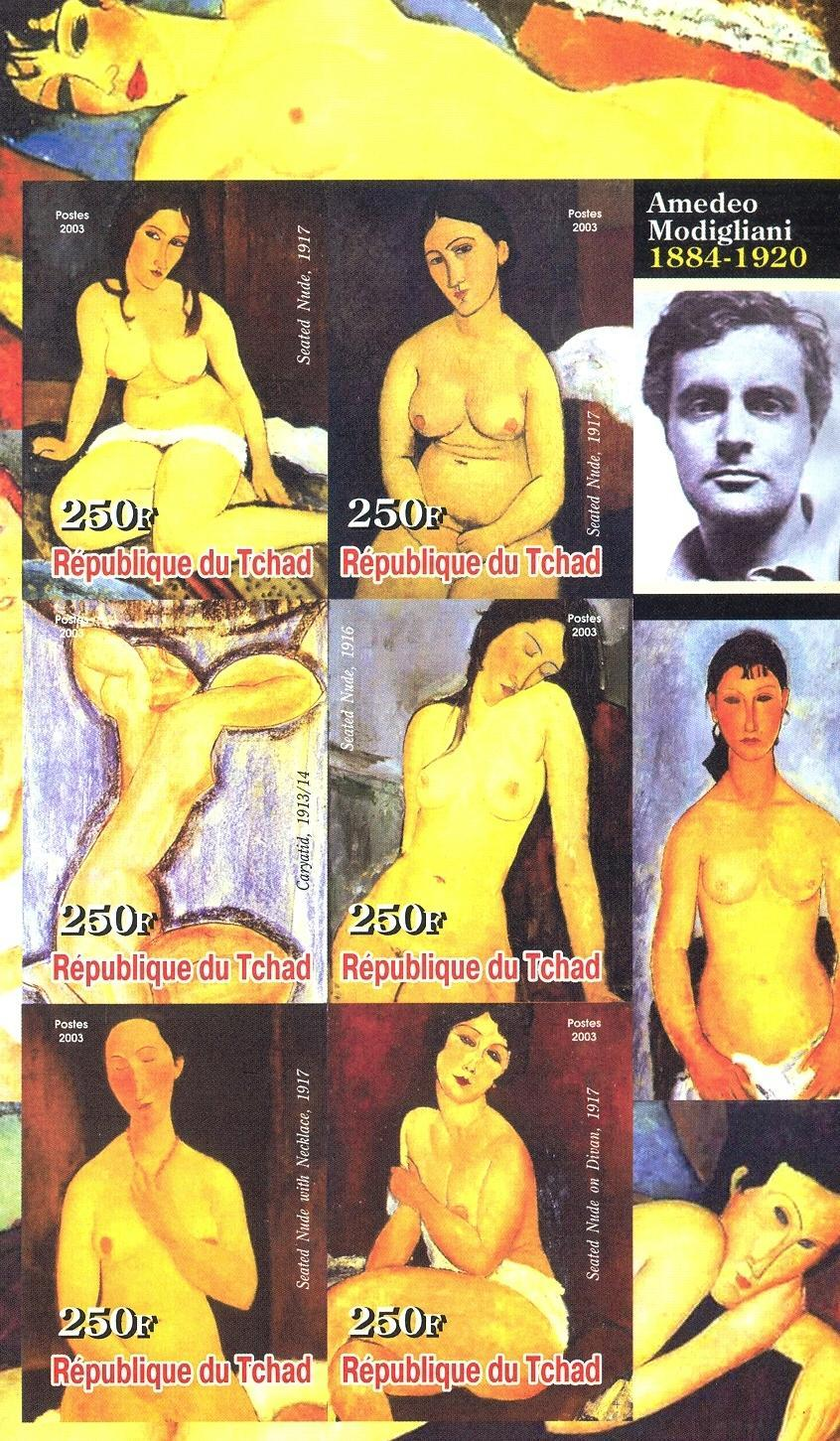 Stamps with Art, Nude, Modigliani from Chad (non official) (image for product #030243)