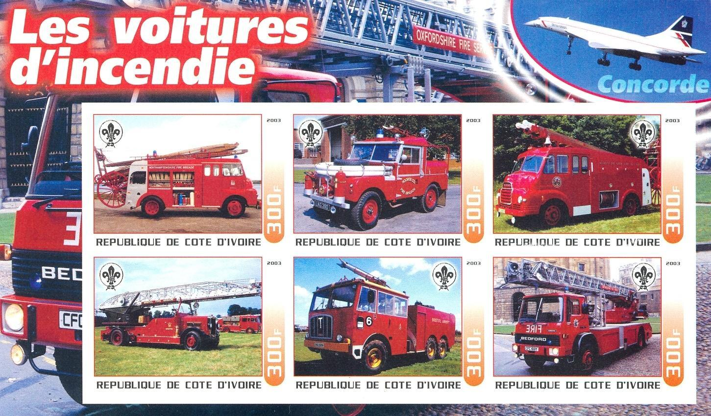 Stamps with Firefighters / engines, Scouting, Concorde from Cote d'Ivoire (non official) (image for product #030249)
