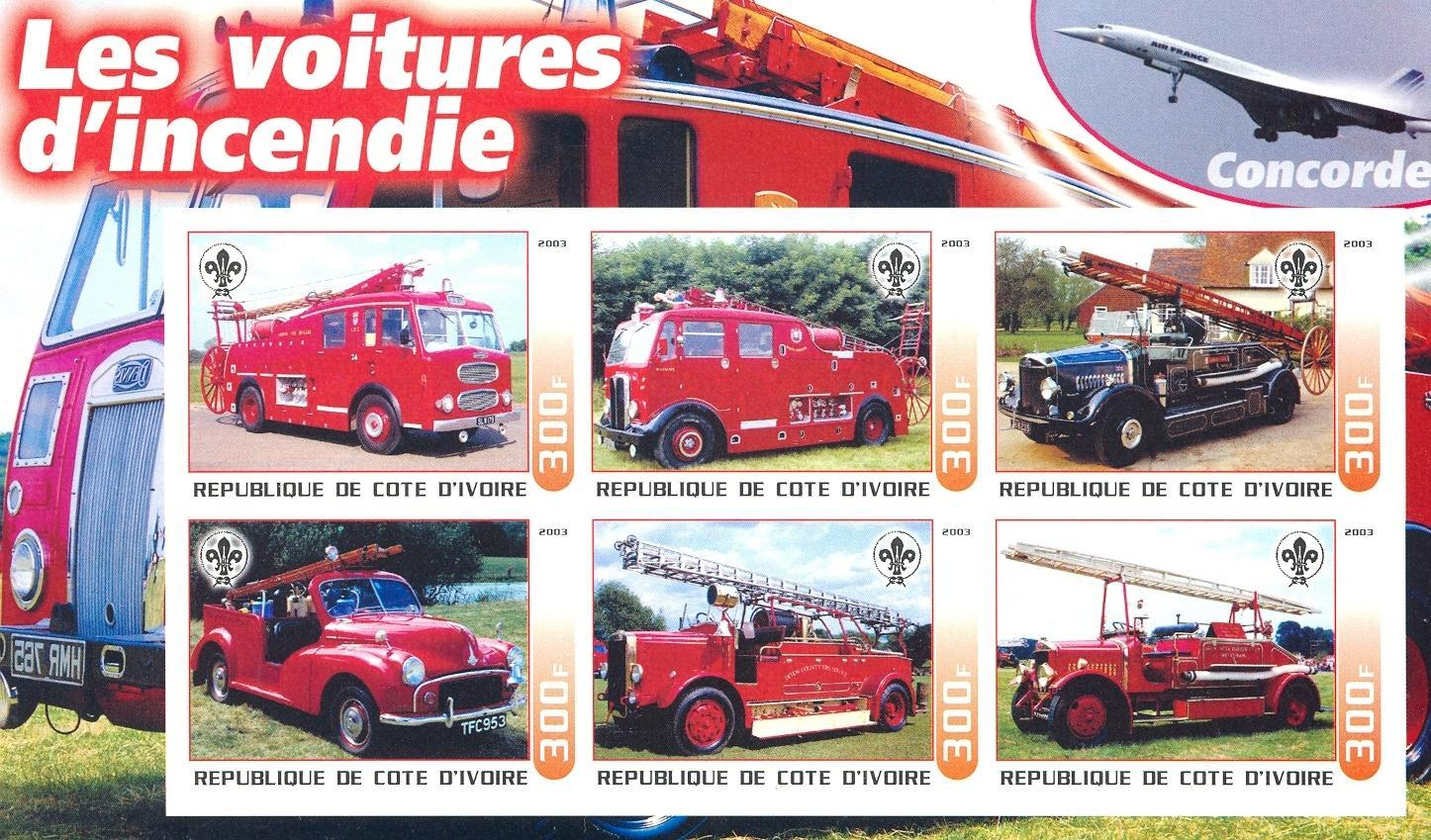 Stamps with Scouting, Firefighters / engines, Concorde from Cote d'Ivoire (non official) (image for product #030250)