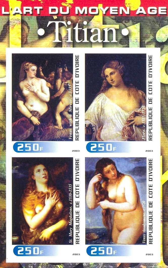 Stamps with Art, Nude, Titian from Cote d'Ivoire (non official) (image for product #030253)