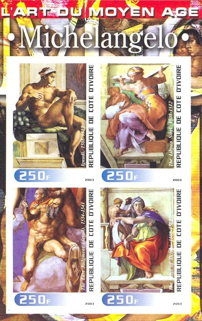 Stamps with Art, Nude, Michelangelo from Cote d'Ivoire (non official) (image for product #030254)