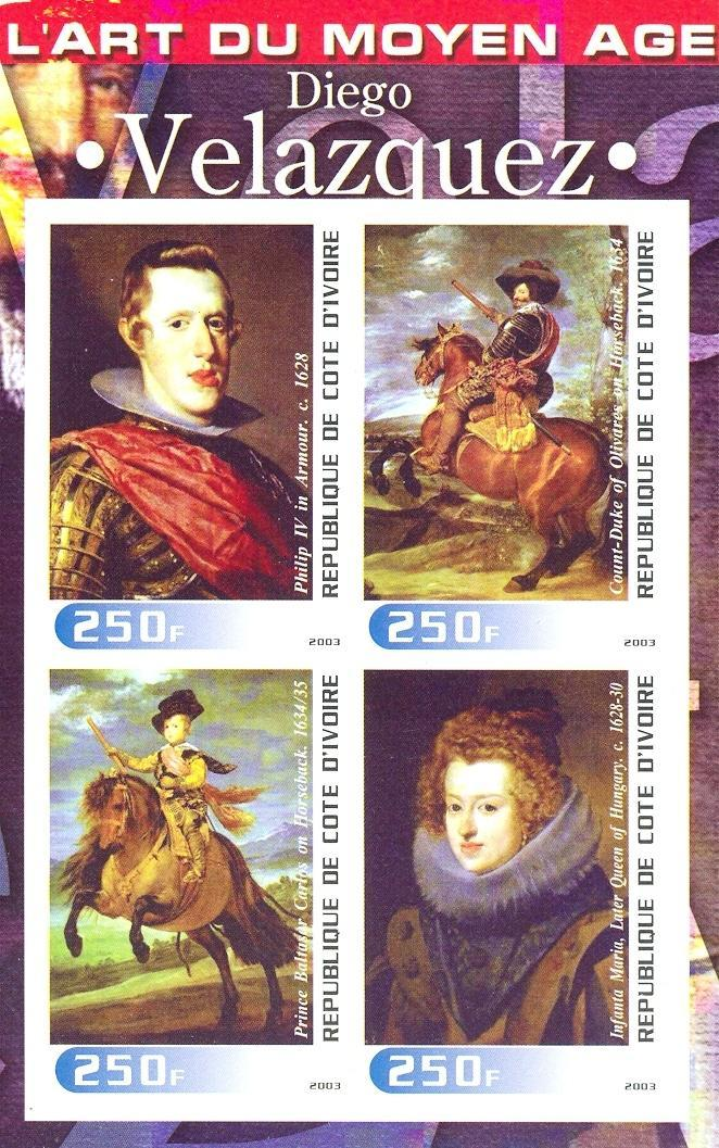 Stamps with Horse, Lace, Art, Velasquez from Cote d'Ivoire (non official) (image for product #030255)
