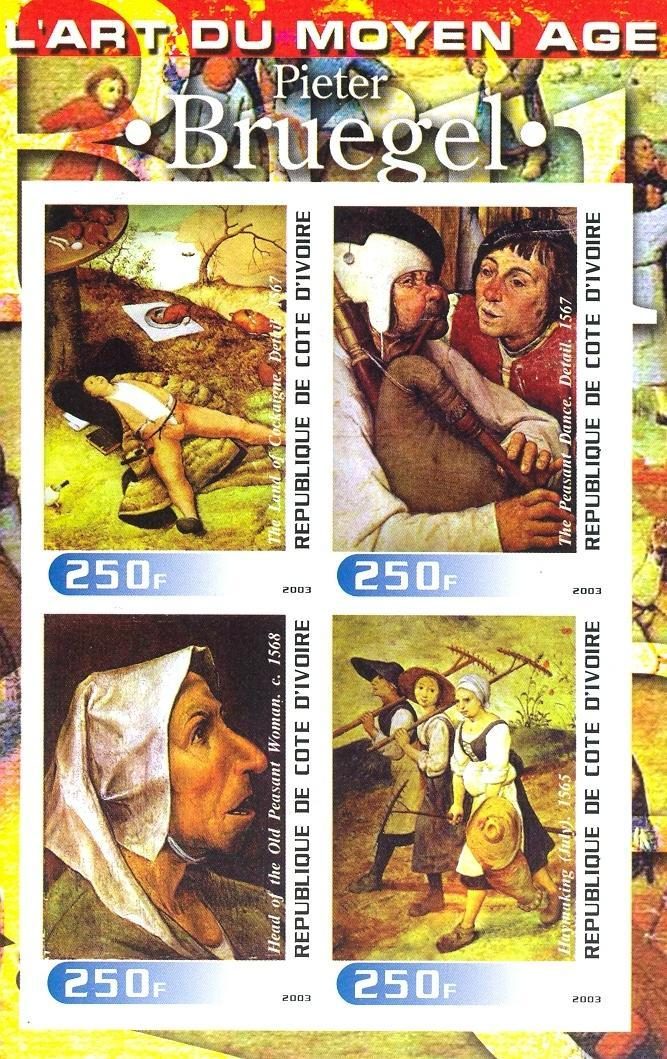 Stamps with Music Instruments, Art, Bagpipes, Brueghel from Cote d'Ivoire (non official) (image for product #030257)