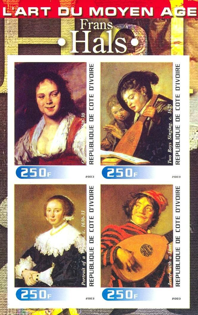 Stamps with Lace, Music Instruments, Art, Hals (Frans) from Cote d'Ivoire (non official) (image for product #030260)
