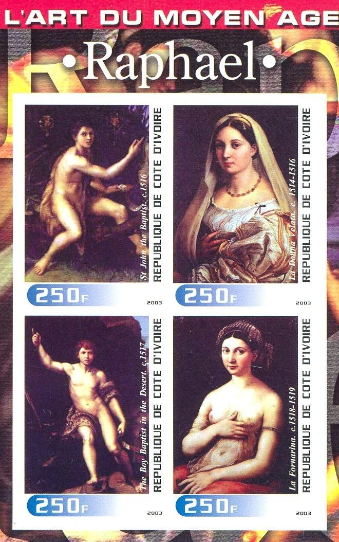 Stamps with Art, Nude, Raphael from Cote d'Ivoire (non official) (image for product #030262)