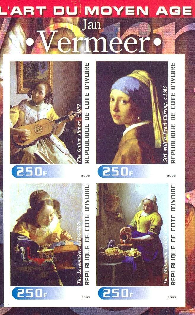 Stamps with Music Instruments, Art, Vermeer from Cote d'Ivoire (non official) (image for product #030263)