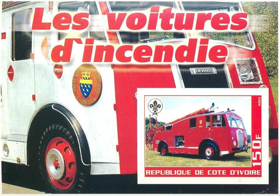 Stamps with Firefighters / engines, Scouting from Cote d'Ivoire (non official) (image for product #030267)