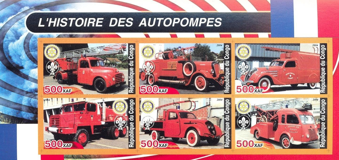 Stamps with Scouting, Rotary, Firefighters / engines from Congo (non official) (image for product #030271)