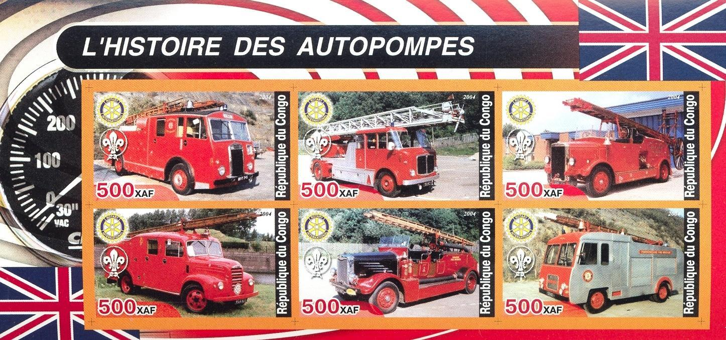 Stamps with Scouting, Rotary, Firefighters / engines from Congo (non official) (image for product #030273)