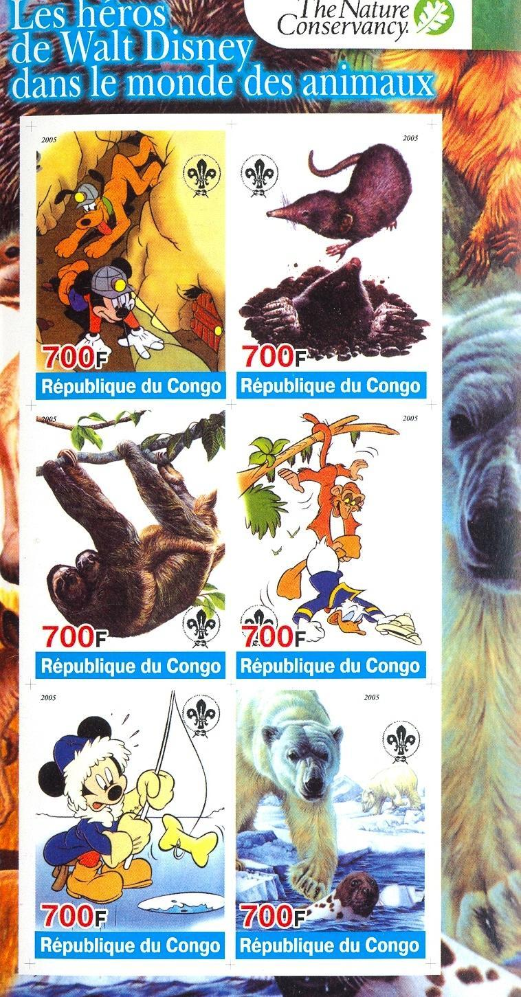 Stamps with Scouting, Icebear, Cartoon, Sloth from Congo (non official) (image for product #030276)