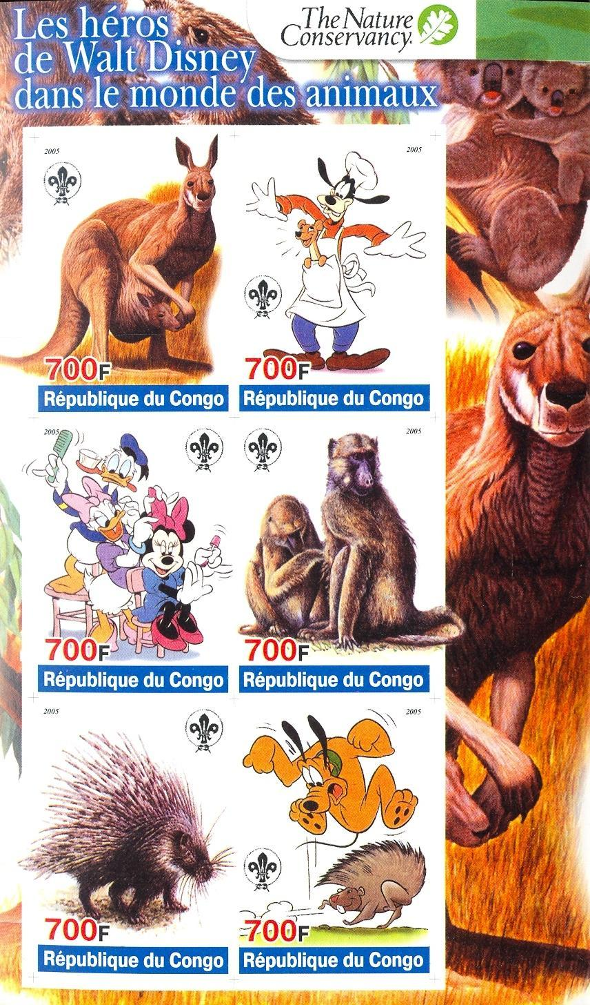 Stamps with Scouting, Monkey, Koala, Kangaroo, Porcupine from Congo (non official) (image for product #030278)