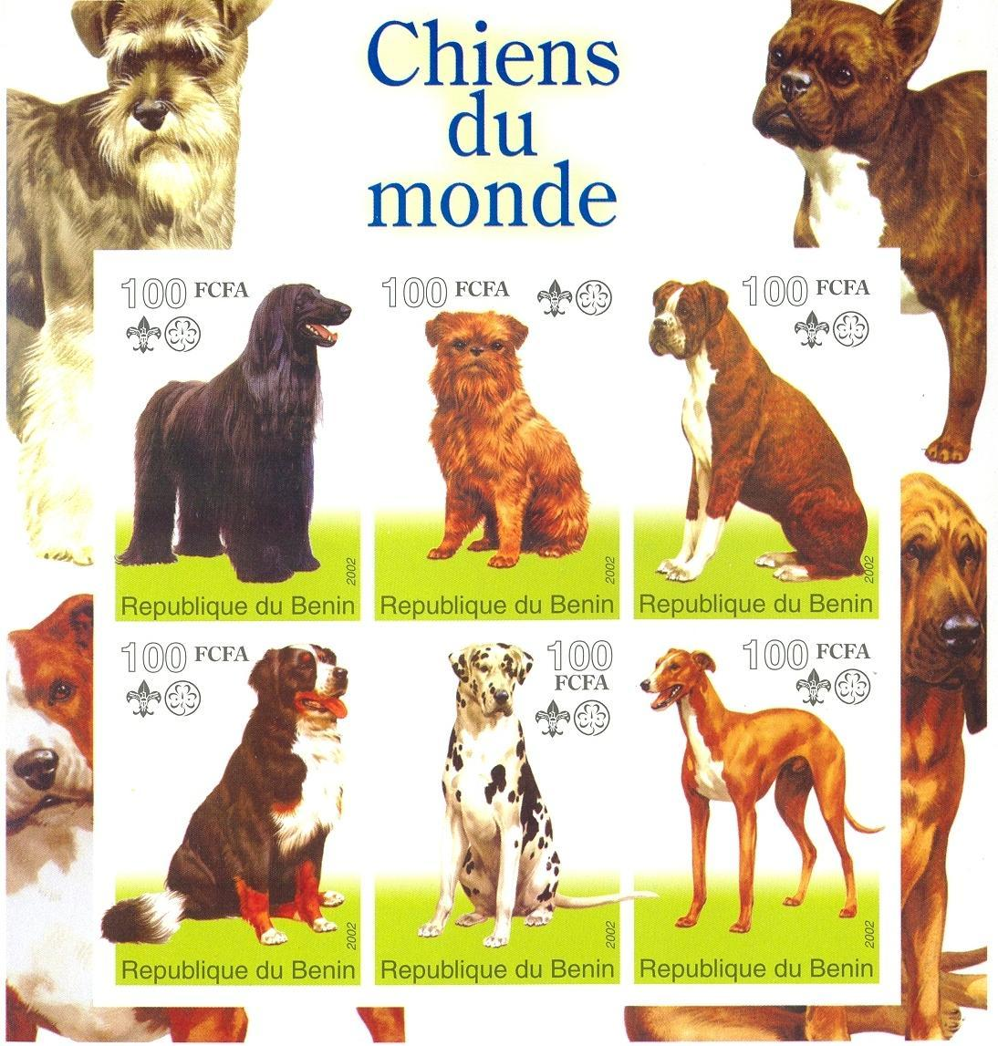 Stamps with Dogs, Scouting from Benin (non official) (image for product #030288)