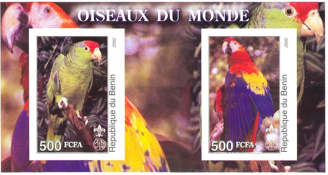 Stamps with Parrot, Scouting from Benin (non official) (image for product #030293)